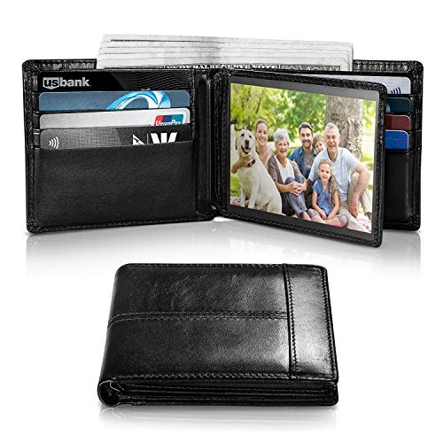 - Mens Wallet RFID Genuine Leather Thin Slim Bifold Wallets For Men, ID Window 18 Card Holders Gift Box (Black Stripe)