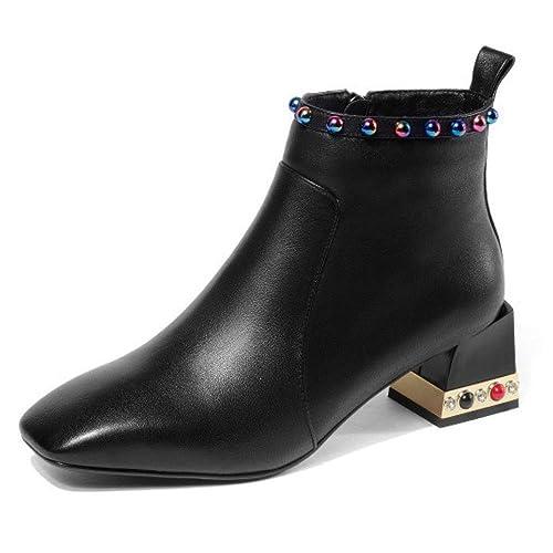 Zapatos De Cuero con Punta Cuadrada Negra para Mujer Botines Low Mid Block Heel Ladies Comfty