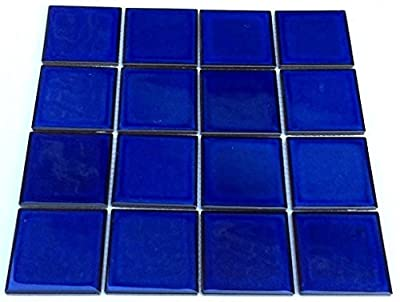 """Vogue Premium Quality 3"""" x 3"""" Cobalt Blue Square Pattern Porcelain Mosaic Tile on Mesh on 12x12 sheet, Designed in Italy"""