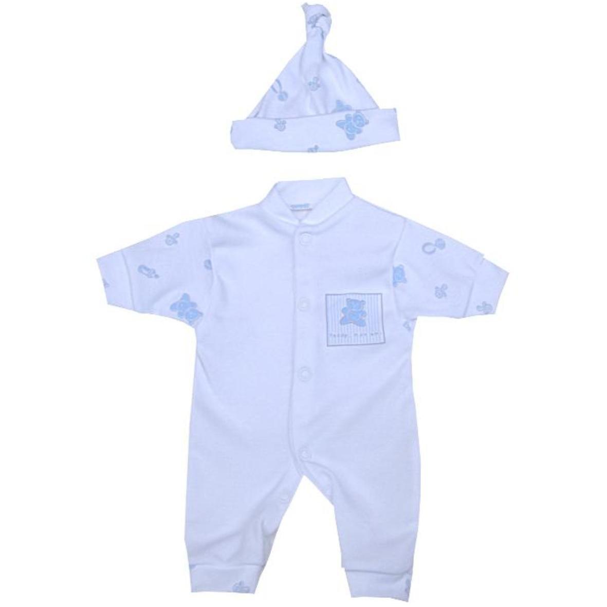 BabyPrem Baby Frühchen Kleidung Strampler Overall & Hut Set Jungen 32 - 50cm LB041BTA/BSD