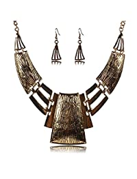 Qiyun Chunky Bold Square Bib Statement Chain Link Collar Necklace Earrings Set Lien Carre Collier