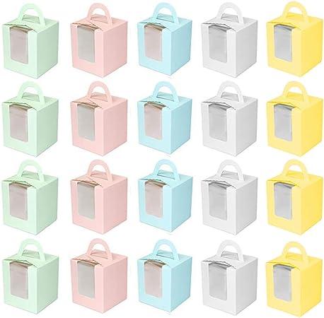 INTVN 20 Piezas Cajas de Cupcakes, Cajas para Pasteles con Ventana de PVC Transparente Muffin Simple para la decoración del Banquete de Boda: Amazon.es: Hogar