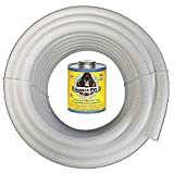 HydroMaxx (2' Dia. x 10 ft) White Flexible PVC Pipe, Hose, Tubing for Pools, Spas and Water Gardens. Includes Free 4oz Can of Hot Blue PVC Gorilla Glue.