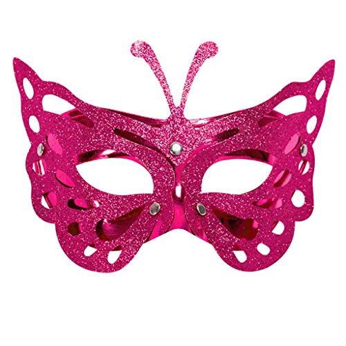 Classic Butterfly Goddess Venetian Masquerade Lace Eye Mask,Carnival Mask Mardi Gras Party Costume Festival Party (Hot Pink)