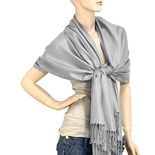 Falari Women's Solid Color Pashmina Shawl Wrap Scarf 80' X 27' Grey