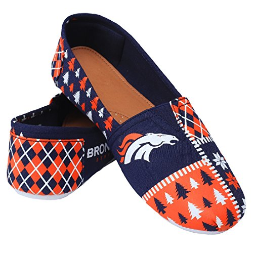 NFL Womens Football Ladies Canvas Slip-On Ugly Stripe Shoes - Pick Team Denver Broncos psSsgJq