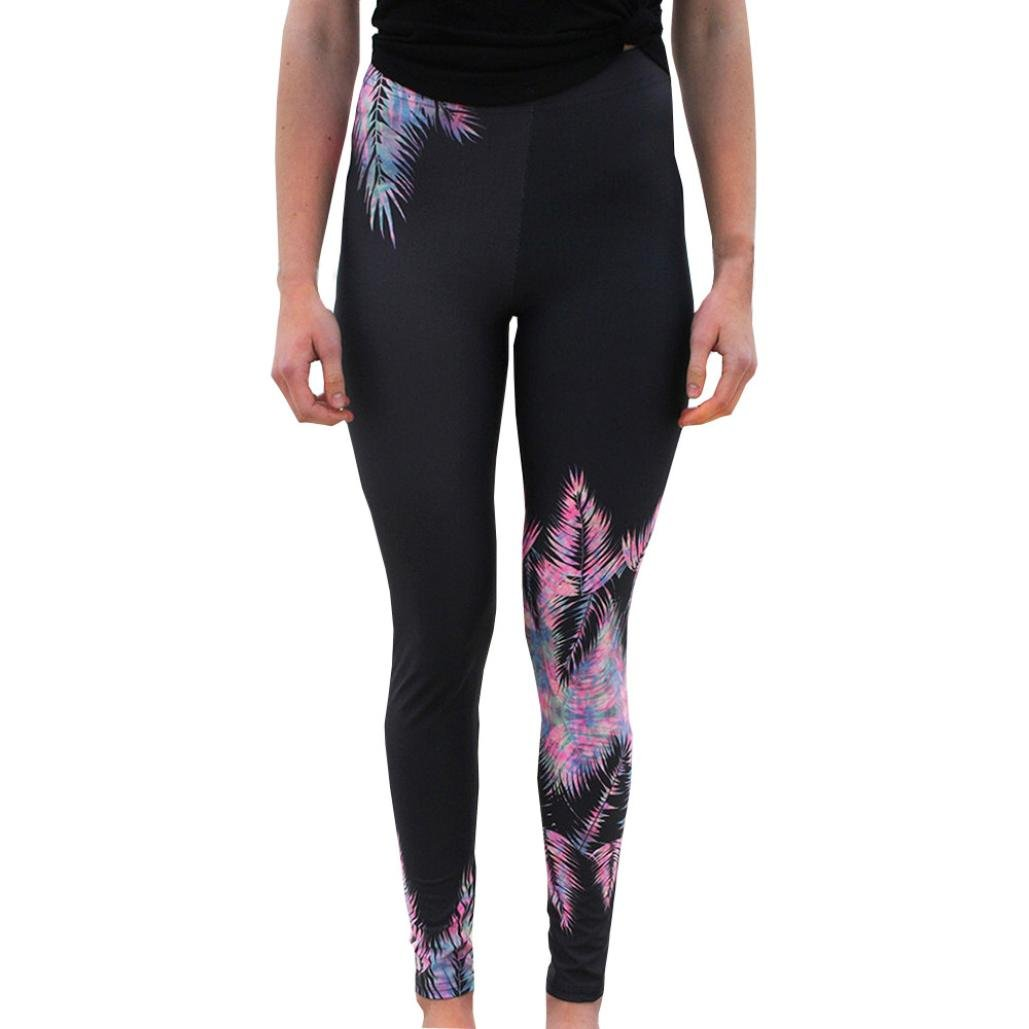Women High Waist Gym Sport Yoga Leggings Mingfa Summer Stretchy Feather Printing Workout Fitness Trousers Running Pants