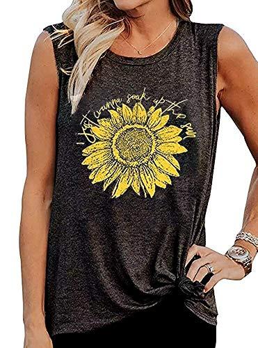 MOMOER I Just Wanna Soak Up The Sun Sunflower Tank Tops Women Funny Letter Print Sleeveless Graphic Tee T-Shirt (Dark Grey, L)
