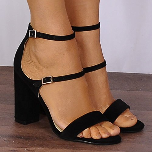 Heels Strappy Strap Heels There Black Barely Ladies Black High Black Ankle 1zq6SwdS