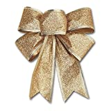 CHDHALTD 10 Pack Christmas Bow for Santa Decorations, Gifts & Presents Wrapping, Hanging Door Decor with Wire, Christmas Tree, Party Supply (Gold)