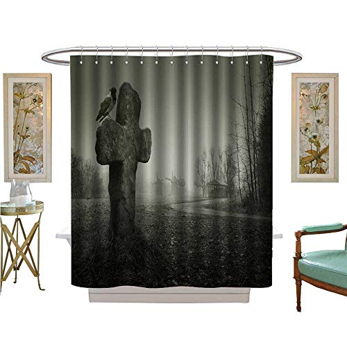 luvoluxhome Shower Curtains Sets Bathroom Scary Background for Halloween Grave with a Cross and The Raven Bathroom Decor Set with Hooks W72 x L96]()