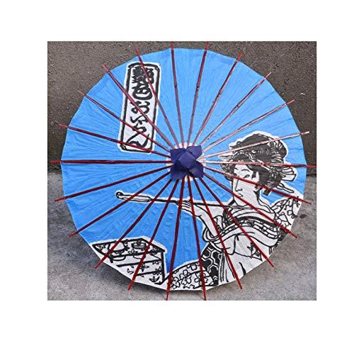 Oiled Paper Umbrella Series Ukiyoe Windproof Umbrella Japanese Cuisine Decorative Ornament 64CM,Sky blue ()
