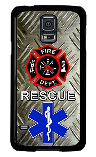 Cell World LLC - Firefighter Paramedic Fire Rescue Black case Cover Rubber Silicone Black Case Cover for Samsung Galaxy S10e - 5.8