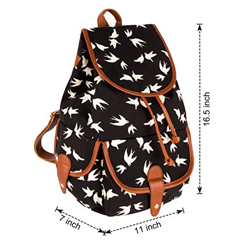 Printed Travel Retro Floral Bag Black Swallow FL1 Canvas Leisure Xidan Shoulder Backpack 1wq4x