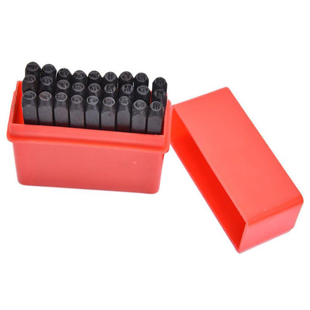 Homyl 4mm/5mm/8mm Steel Punch Alphabet Letter Stamp Tool Metal Leather Craft A -Z with& 27-Piece Set - Black, 4mm