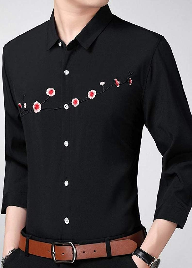 neveraway Mens 3//4 Sleeve Slim Embroidery Shirt Plus Size Business Dress Shirt