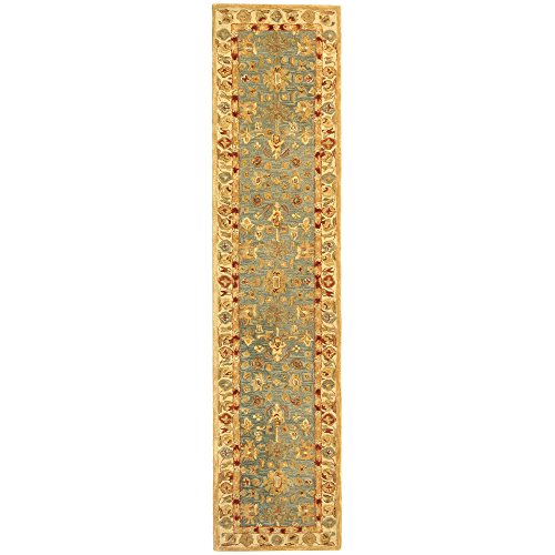 Safavieh Anatolia Collection AN547A Handmade Traditional Oriental Blue and Ivory Wool Runner (2'3