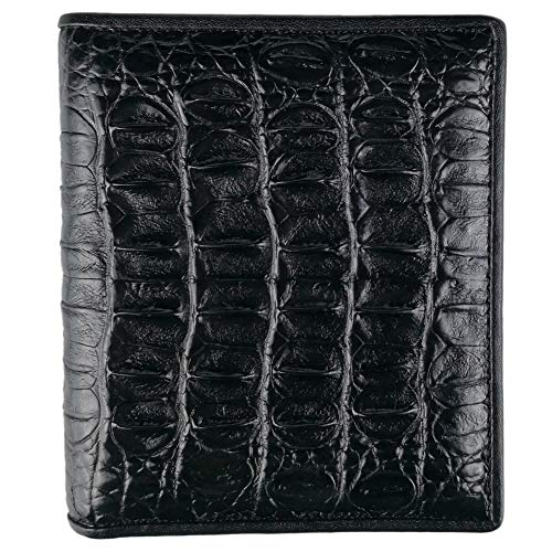 CHERRY CHICK Luxury Alligator Wallets for Men Genuine Crocodile Skin Billfold Hot Gift (Black-Back-Vertical)
