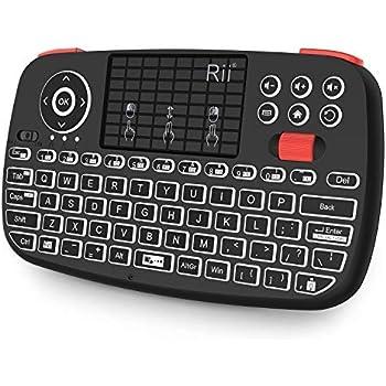 88b9ba10bb5 Rii Bluetooth Keyboard,Portable Mini Wireless Keyboard with QWERTY Backlit  Keypad,Touchpad for Apple
