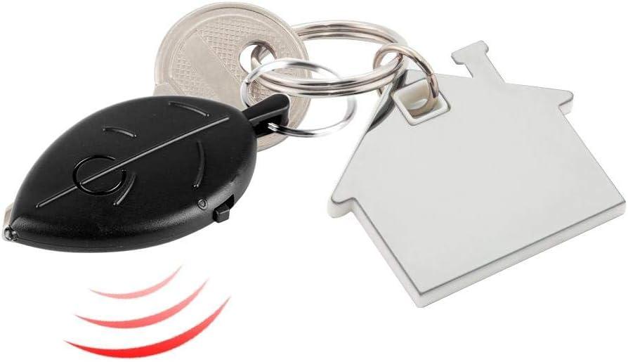 Whistle Voice Control Key Locator Mini hoja en forma de llave Anti-perdida Buscador de trazadores con luz LED de alto brillo Blanco