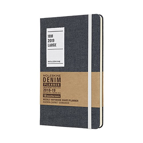 (Moleskine Limited Edition Denim Collection 18 Month 2018-2019 Weekly Planner, Hard Cover, Large (5