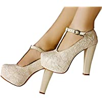 getmorebeauty Women's Marty Janes T-Strappy Lace Women Dress Wedding Shoes Ivory
