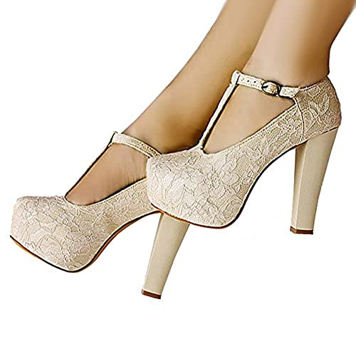 Getmorebeauty Womenu0027s Marty Janes T Strappy Lace Women Dress Wedding Shoes  7 B(M) US