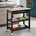 HOMCOM Rolling Mobile Kitchen Island Cart with Large Work Countertop,Knife Rack,Integrated Spice Rack & Storage Drawer