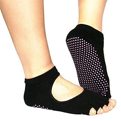 EQLEF® Yoga Pilates calcetines mitad Grip tobillo del dedo del pie Five Finger No-