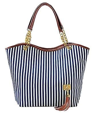 Simplified Style Tote Elegant Shoulder Bag Gold Chain Metal Tassel Handbag Canvas Purse