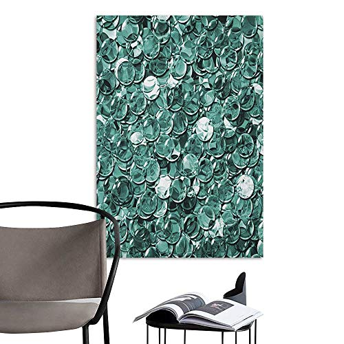 Stickers Wall Murals Decals Removable Pearls Crystal Clear Balls Coins Pattern Never Ending Liquid Objects Monochrome Design Print Teal Office Studio Corridor Aisle W8 x H10