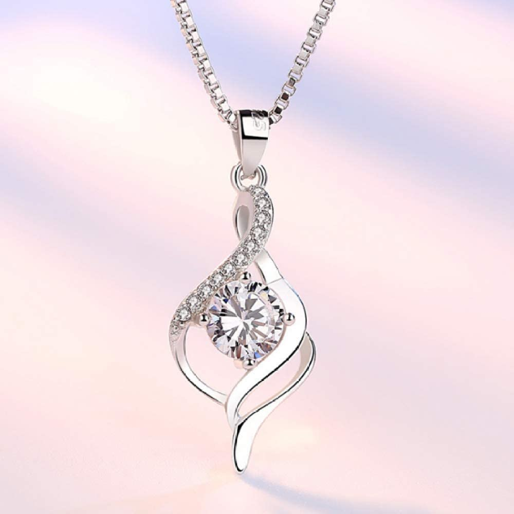 N//Y Silver Necklace 925 Sterling Silver Fashion Shiny Crystal Leaf Lady Pendant Necklace Jewelry Box Chain No Fading Allergy