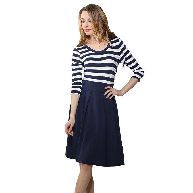feiXIANG Damen kleider Navy Style Rock Stripe Frauen Partykleid ...