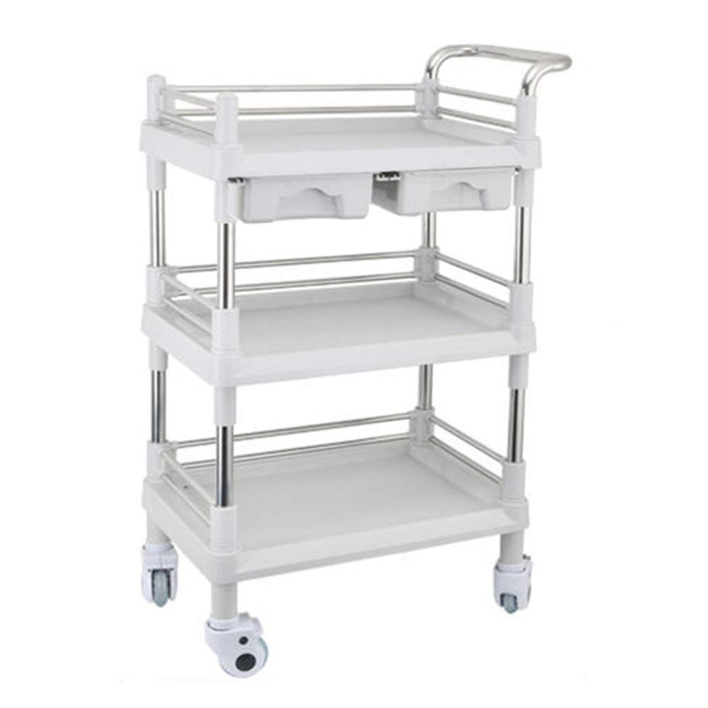 LXLA - Beauty Salon Trolley Therapy Dentist Hairdresser 3 Shelves with Wheels - White (Size : 76×53×98cm) by LXLA - utility cart
