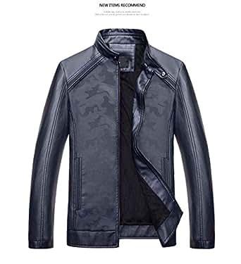 chaqueta cuero hombre invierno moto, dark blue, l: Amazon.es ...
