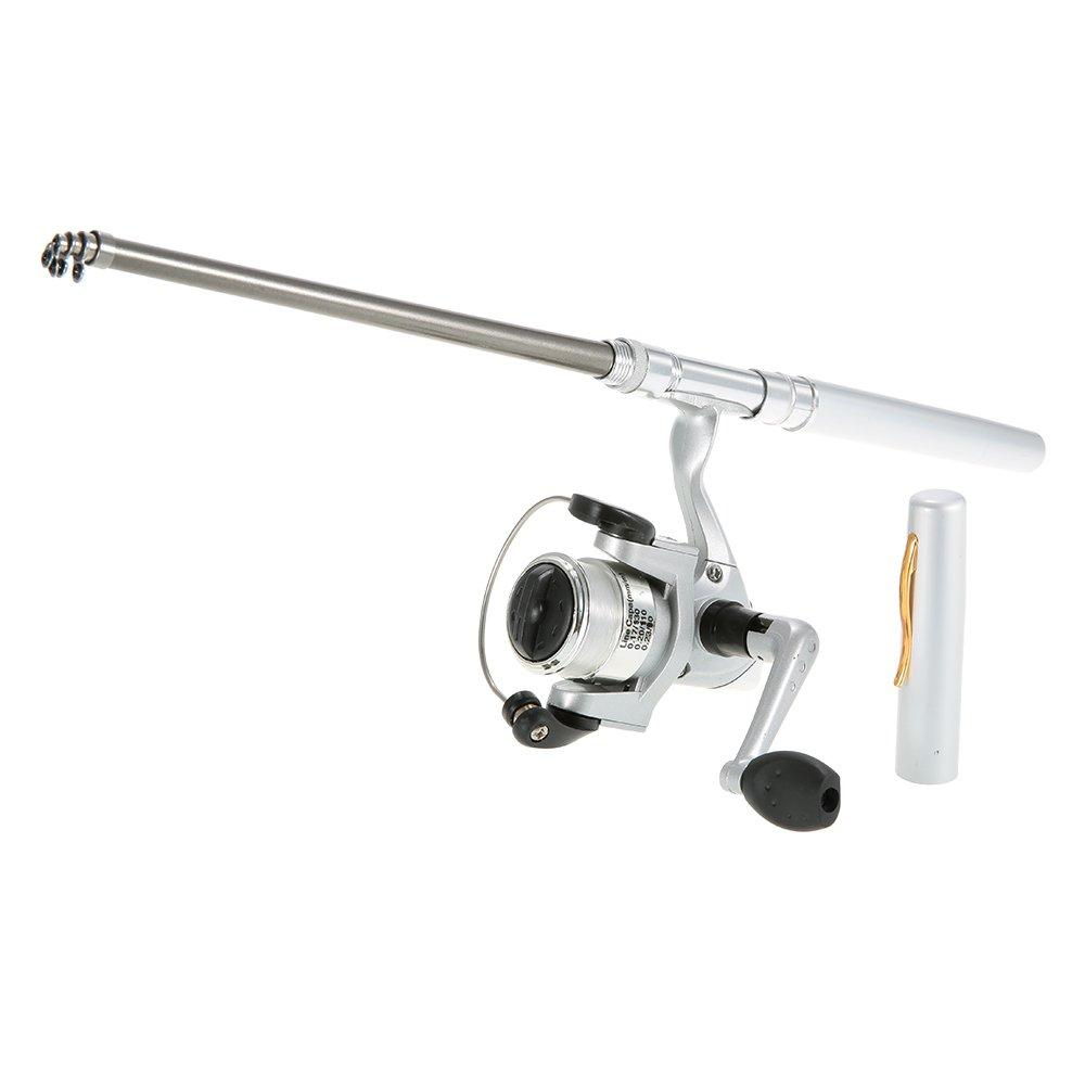 Lixada Mini Caña y Carrete de Pescar de Aluminio de Pluma del Bolsillo Plata Incluido Carrete