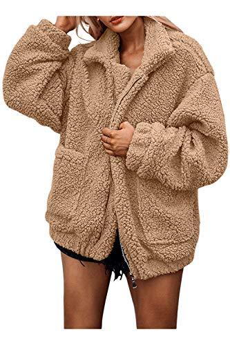 COCOLEGGINGS Women's Long Sleeve Lamb Wool Lapel Zipped Chunky Coat Khaki S