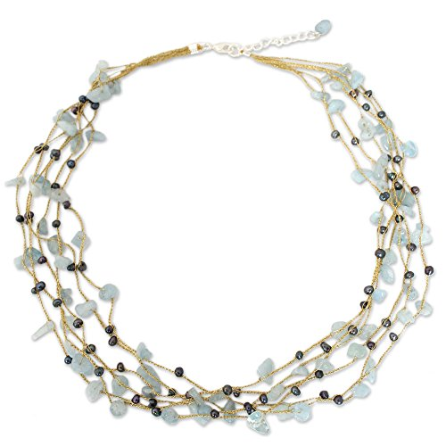 NOVICA Aquamarine Dyed Cultured Freshwater Pearl Sterling Silver Strand Necklace, 21.25 Afternoon Sigh