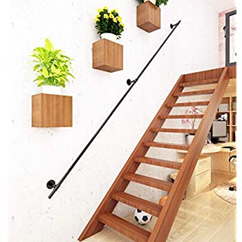 DIYHD 7.6FT Black Iron Pipe Interior Wall Mount Stair ...