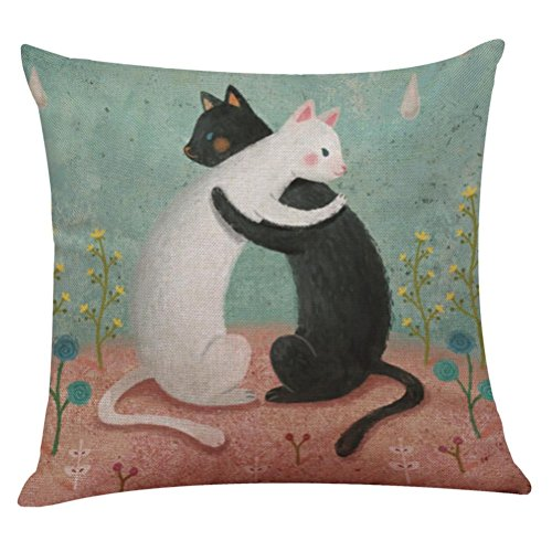 Price comparison product image Challyhope Striking Lovely Cat Sofa Bed Home Decoration Festival Colorful Throw Pillow Case Cushion Cover (Multicolor P)
