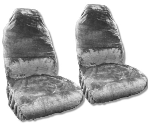 (Gray Faux Sheepskin Seat Cover Pair - Soft Plush Synthetic Grey Wool Bucket Seat Covers)