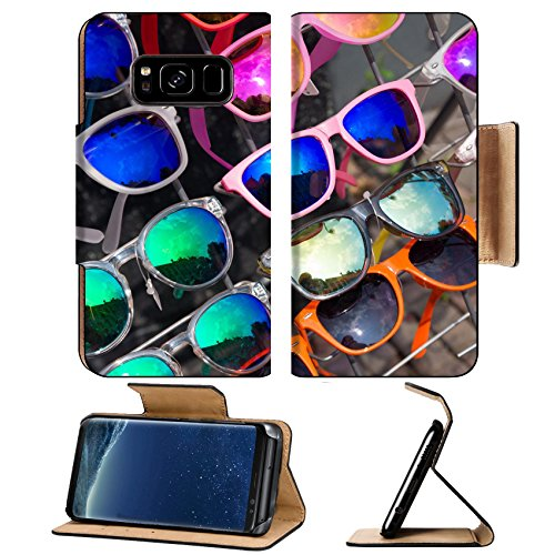 Luxlady Premium Samsung Galaxy S8 Flip Pu Leather Wallet Case IMAGE 32515063 bunch of retro style sunglasses on a rack in front of a - A Bunch Of Sunglasses