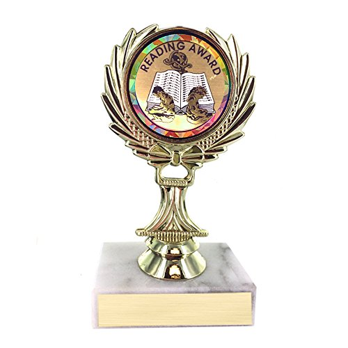 Customizable 5-1/4 Inch Reading Award Trophy on White Marble Base, includes Personalization
