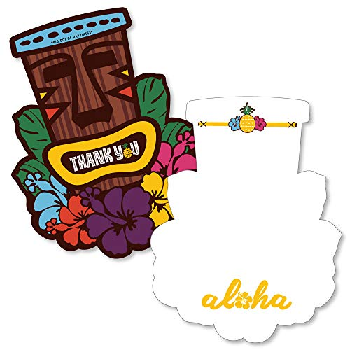 Tiki Luau - Shaped Thank You Cards - Tropical Hawaiian Summer Party Thank You Note Cards with Envelopes - Set of 12]()