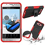 Galaxy J7 2016 Case, KAMII Heavy Duty Combo Hybrid Rugged Drop Protection Shockproof Protective Cover Case with Built in Kickstand For Samsung Galaxy J710 / J7 2016 (Black/Red)