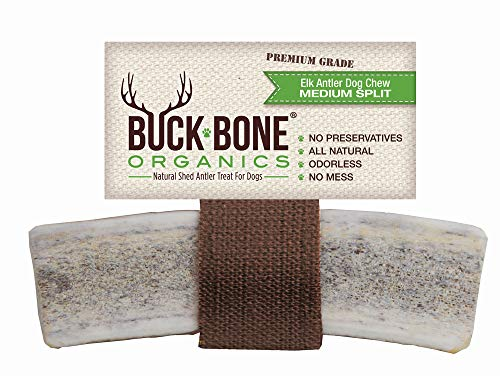 "Buck Bone Organics Elk Antlers For Dogs, Premium Grade A - Naturally Sourced From Shed Antler, Split Antlers 5-7"" In Length, Made in the USA"