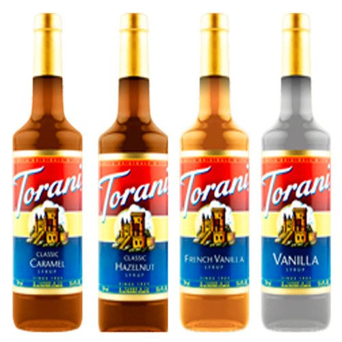 Torani Variety Pack Caramel, French Vanilla, Vanilla & Hazelnut, 25.4 Fl Oz (Pack of 4)