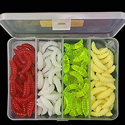 50PCS 2cm 0.3g Maggot Grub Soft Fishing Lures Hooks Smell Worms Bait Trout Bream