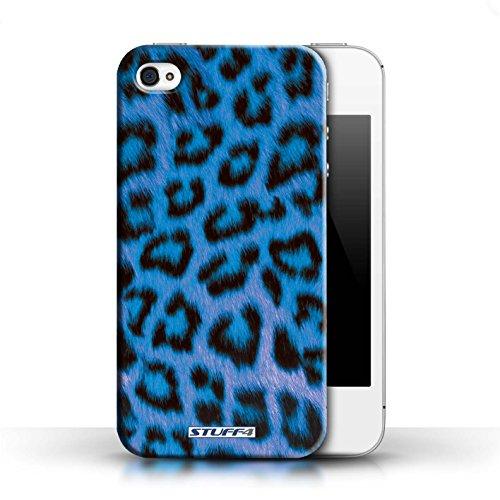 iCHOOSE Print Motif Coque de protection Case / Plastique manchon de telephone Coque pour Apple iPhone 4/4S / Collection Peau de Léopard Animal / Bleu