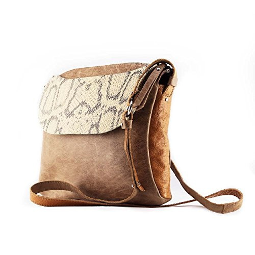 Blake. Shoulder leather bag in taupe and sand leather